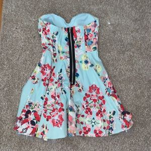 Blue and pink floral strapless dress